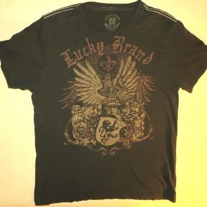 Lucky Brand Large Soft Brown Graphic T-Shirt
